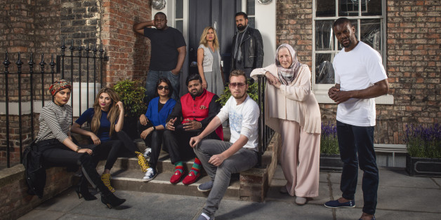 Programme Name:  Muslims Like Us - TX: n/a - Episode: Muslims Like Us (No. 1) - Picture Shows: L-R Back row - Nabil, Naila, Fehran L-R Front row - Humaira, Mehreen, Zohra, Mani, Barra, Saba, Abdul   - (C) Love Productions - Photographer: Gareth Gatrell